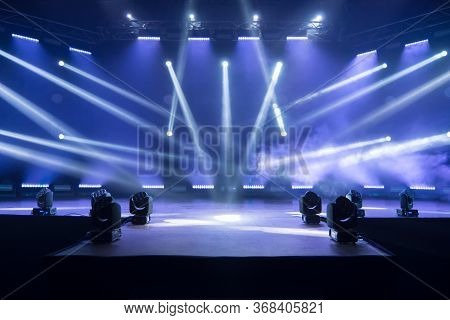 Online Concert. Event Entertainment Concept. Background For Online Concert. Blue Stage Spotlights. E