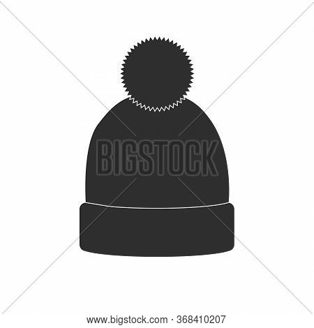 Winter Hat Icon. Vector In Simple Flat Design, Outline. With Pompom Isolated On White Background. Il