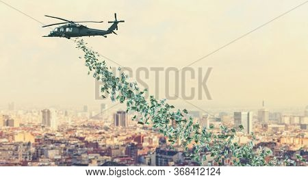 helicopter flies over the city and distributes dollars money to everyone. Helicopter money concept. Financial aid in times of crisis coronavirus covid 19.3d render.