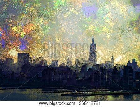 NYC landscape. Modern digital art. 3D rendering