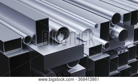 Different metal profiles as building material and material for industry and production (3D Rendering)
