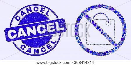 Geometric Stop Shopping Mosaic Icon And Cancel Seal Stamp. Blue Vector Round Distress Seal With Canc