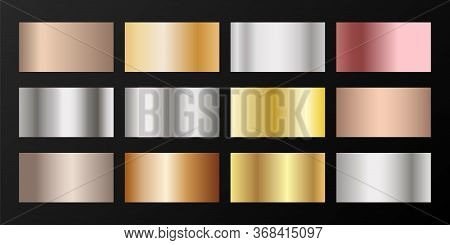 Metallic Gradients Vector Set: Golden, Silver, Platinum, Bronze, Pink Gold. Smooth Chrome, Alloy, Al