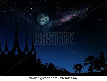 Fairy Tale World. Magnificent Castle Under Starry Sky With Full Moon At Night