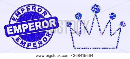 Geometric Crown Mosaic Icon And Emperor Seal Stamp. Blue Vector Rounded Textured Seal With Emperor T