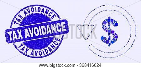 Geometric Dollar Refund Mosaic Icon And Tax Avoidance Seal Stamp. Blue Vector Rounded Textured Seal