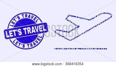 Geometric Airplane Takeoff Mosaic Pictogram And Let's Travel Seal Stamp. Blue Vector Round Distress