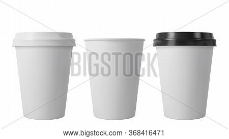 Paper Coffee Cups With Black And White Lids. Open And Closed Middle Paper Cup. Realistic Vector Mock