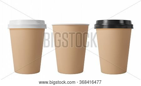 Brown Paper Coffee Cups With Black And White Lids. Open And Closed Middle Paper Cup. Realistic Vecto