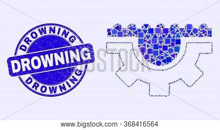Geometric Water Gear Mosaic Icon And Drowning Seal Stamp. Blue Vector Round Scratched Seal Stamp Wit
