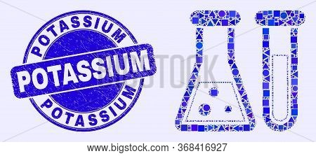 Geometric Chemical Glassware Mosaic Icon And Potassium Seal. Blue Vector Round Scratched Seal With P
