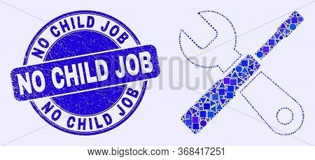 Geometric Setup Tools Mosaic Icon And No Child Job Seal Stamp. Blue Vector Rounded Textured Seal Sta
