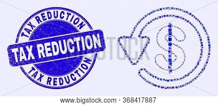 Geometric Dollar Refund Mosaic Pictogram And Tax Reduction Seal Stamp. Blue Vector Round Grunge Seal