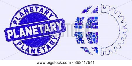 Geometric Global Service Mosaic Pictogram And Planetary Seal. Blue Vector Round Textured Seal Stamp
