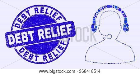 Geometric Call Center Operator Mosaic Pictogram And Debt Relief Seal Stamp. Blue Vector Round Textur