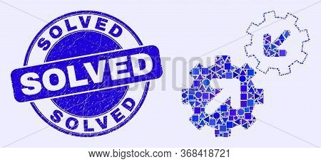 Geometric Integration Gears Mosaic Icon And Solved Seal. Blue Vector Round Distress Seal With Solved