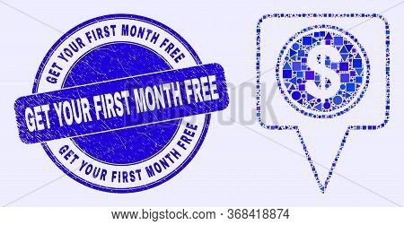 Geometric Dollar Map Marker Mosaic Pictogram And Get Your First Month Free Seal Stamp. Blue Vector R