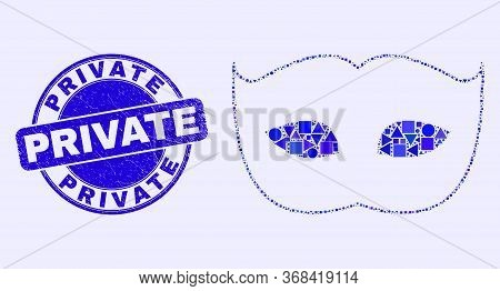 Geometric Private Mask Mosaic Pictogram And Private Seal Stamp. Blue Vector Round Scratched Watermar