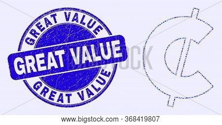 Geometric Cent Mosaic Pictogram And Great Value Seal Stamp. Blue Vector Rounded Textured Seal Stamp