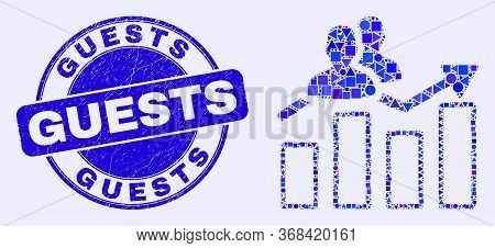 Geometric Visitors Bar Chart Mosaic Icon And Guests Seal Stamp. Blue Vector Round Textured Seal Stam