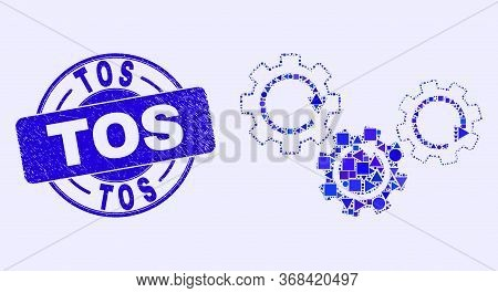 Geometric Gear Mechanism Mosaic Pictogram And Tos Seal Stamp. Blue Vector Round Scratched Seal With