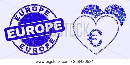 Geometric Euro Love Hearts Mosaic Icon And Europe Seal Stamp. Blue Vector Round Distress Seal Stamp