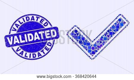 Geometric Validated Tick Mosaic Pictogram And Validated Seal Stamp. Blue Vector Round Grunge Seal Wi