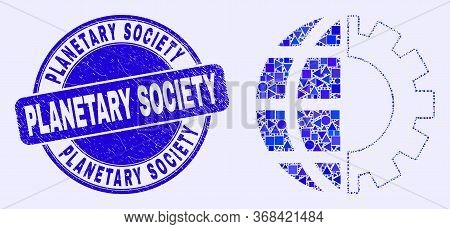 Geometric Global Industry Mosaic Pictogram And Planetary Society Stamp. Blue Vector Round Textured S