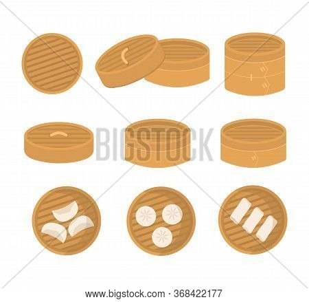 Set Of Chinese Bamboo Steamer In Different Angle. Serving Of Dimsum Dumplings, Gyoza. Flat Vector Ca
