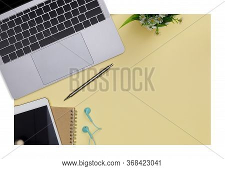 Top View Workspace Office Supplies Mockup With Notebook, Tablet, Books And Accessories Isolated On Y
