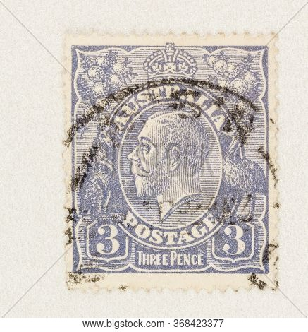 Seattle Washington - May 27, 2020:  King George V In Blue On 3 Pence Australian Postage Stamp, With