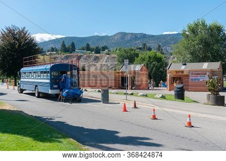 Penticton, British Columbia/canada - September 2, 2019: Coyote Cruises Channel Float Shuttle Bus Ret