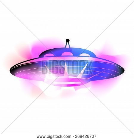 Black Silhouette Of A Ufo With Neon Colorful Paint Stroke. Flying Saucer. Unknown Flying Object. Vec