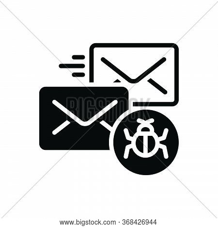 Black Solid Icon For Infected-mail Infected Mail Malware Protection Vulnerability