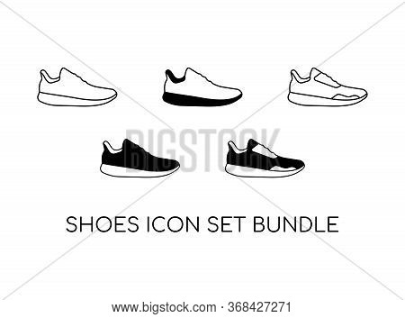 Set Of Shoe Icon With Black Modern Concept Isolated On White Background. Consist Of Five Shoe Icon I