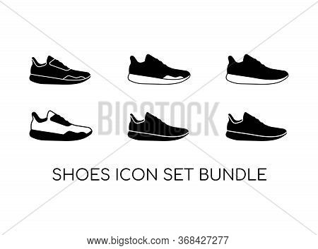 Set Of Shoe Icon With Black Modern Concept Isolated On White Background. Consist Of Six Shoe Icon Im
