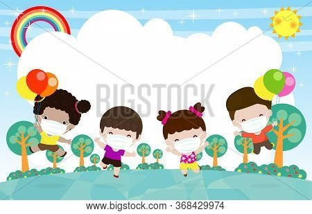 Happy Kids Holding Balloon Jumping At The Meadow, Children Playing Running Together, Child Wear Face