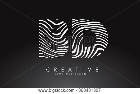 Bd B D Letters Logo Design With Fingerprint, Black And White Wood Or Zebra Texture On A Black Backgr