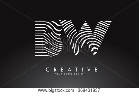 Bw B W Letters Logo Design With Fingerprint, Black And White Wood Or Zebra Texture On A Black Backgr