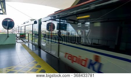 Kuala Lumpur, Malaysia - April 20, 2020: Blurry Motion Of The Mass Rapid Transit Is A Rapid Transit