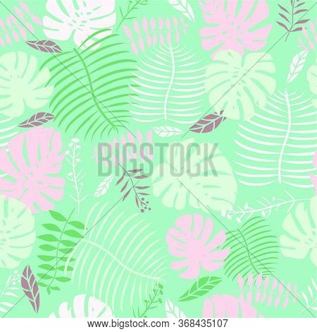 Mint Green Tropical Swiss Cheese Plant Leaf Seamless Vector Pattern Graphic Floral Fern Leaves Paste