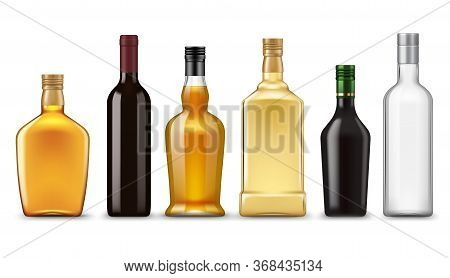 Realistic Alcohol Drink Bottles, Vector Mockups. Glass Bottles Of Wine, Vodka, Whiskey, Gin And Bran