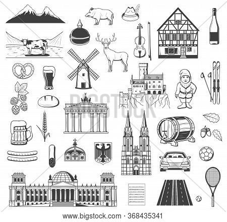 Germany Vector Objects, Symbols And Characters. Beer And Sausage, Pretzel. Bavarian Hunting Hat, Bra