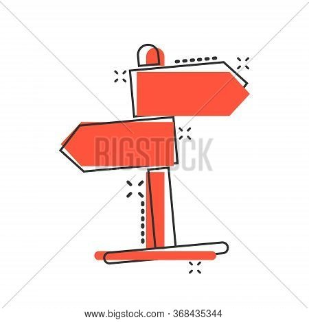 Crossroad Signpost Icon In Comic Style. Road Direction Cartoon Vector Illustration On White Isolated