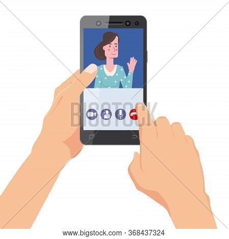 Hand Holds Smartphone. Video Conference Man On Screen Phone Talking By Internet In Videocall, Chat,