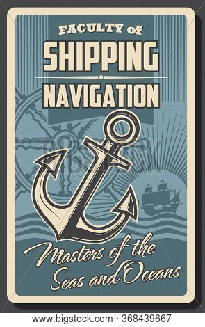 Nautical Navigation Helm, Anchor And Sea Ship Vector Design. Sailboat Or Sailing Ship, Old Wooden St