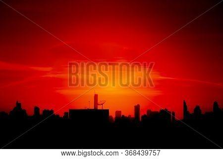 Silhouetted Bangkok City. Beautiful Sunset Over City. Landscape Shot.