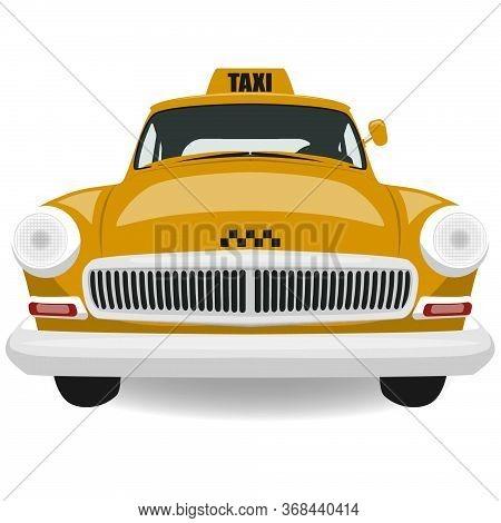Yellow Retro Taxi Car. Vintage Taxi.taxi Illustration
