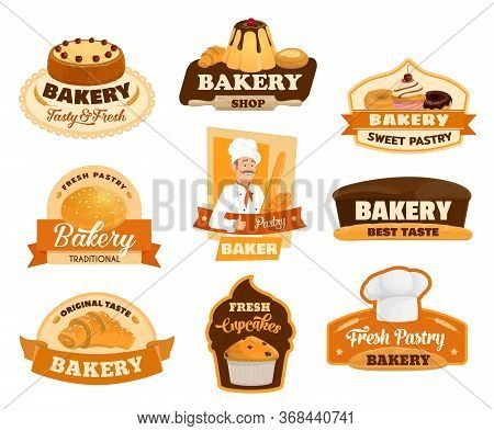 Baker, Pastry And Bread Isolated Icons Of Bakery Vector Design. Bread, Croissant And Baguette, Cake,