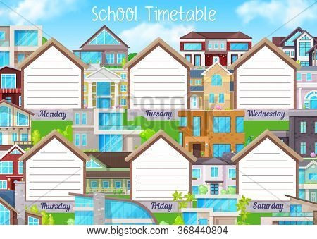 School Timetable, Education Schedule Or Student Planner Vector Template. Weekly Chart Or Study Plan
